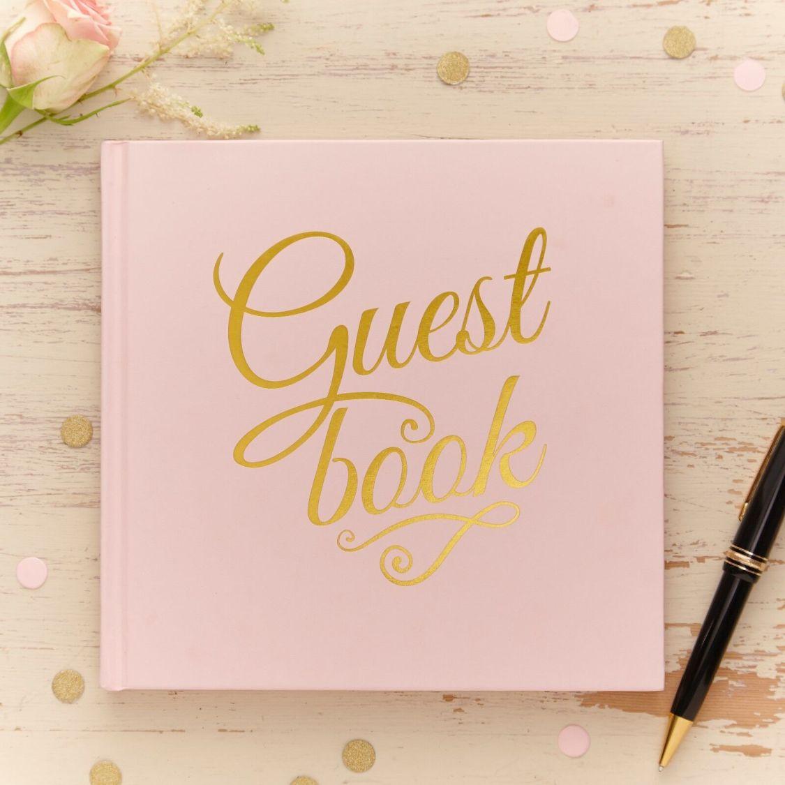Gästebuch 'Guest Book' Vintage Pastell rosa / gold - Hochzeit Hochzeitsalbum
