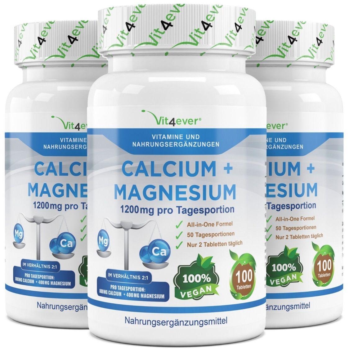 3x 100 CALCIUM & MAGNESIUM Tabletten  Vegan Hochdosiert 1200mg Kalzium no Kapsel