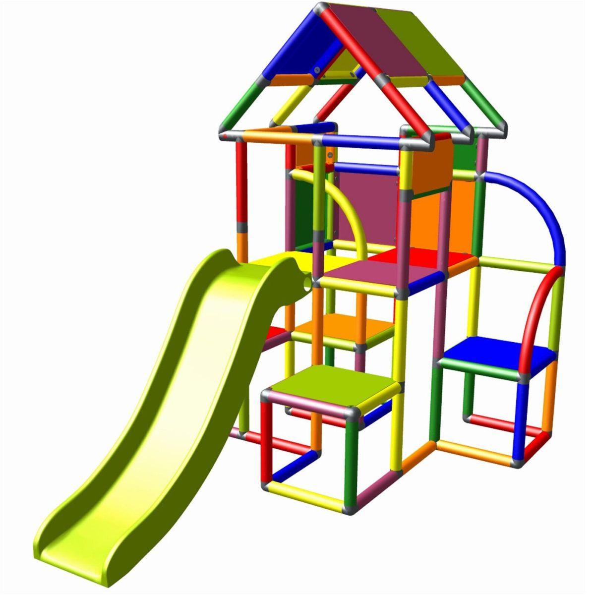Moveandstic Lina Spielturm mit Dach und Rutsche Kletterturm Klettergerüst multic