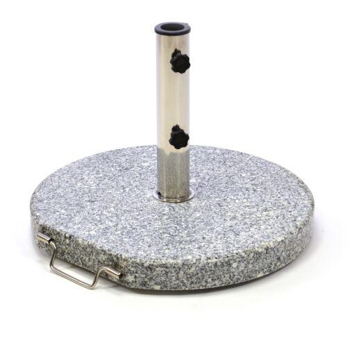 Sonnenschirmständer 25kg Granit grau poliert rund Edelstahl Ø50cm Naturstein