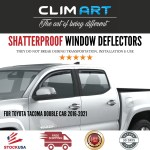 Side Window Wind Deflectors Visors Clim Art In Channel Incredibly Durable Rain Guards For Toyota Tacoma Truck 16 20 Double Cab Vent Deflector 4 Pcs 616012 Vent Window Visors Original Window Deflectors Dark