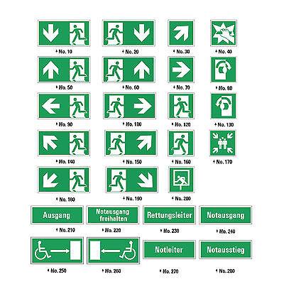 Fluchtwegschild Notausgang Schild LANG NACHLEUCHTEND ASR A1.3 ISO 7010 NEU