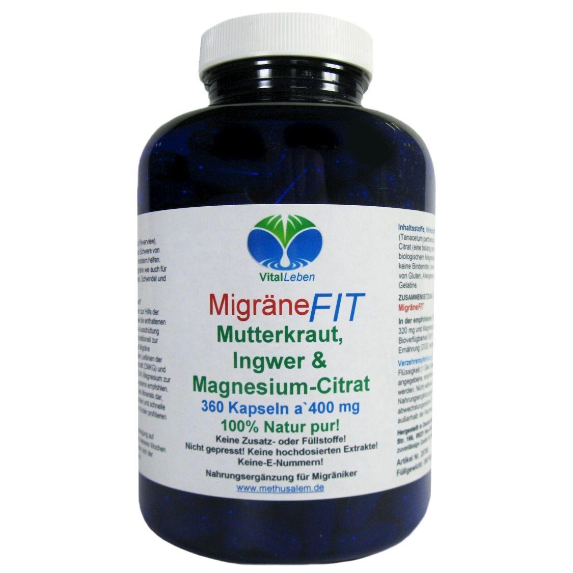MigräneFIT Mutterkraut Ingwer & Magnesium-Citrat 360 Kapseln Natur Pur #25768