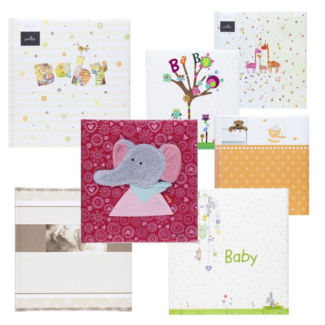 Fotoalbum Babyalbum Fotobuch neutral Mädchen Junge Babytagebuch Goldbuch