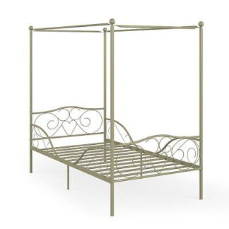 Twin Size Metal Canopy Bed Frame 4 Poster Steel Slats Headboard Footboard Gold