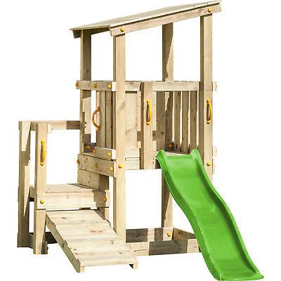 Spielturm CASCADE mit Rutsche 1,75 m + Kletterrampe Kletterturm Spielhaus Holz