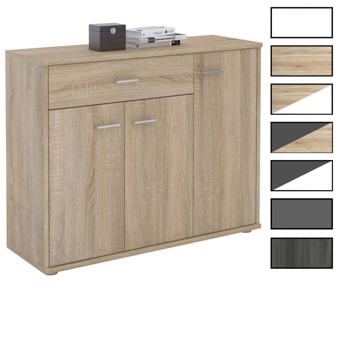 Kommode Sideboard Mehrzweckschrank , 3 Türen und 1 Schublade, 88 cm breit