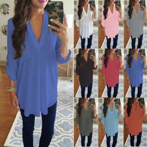 Women Chiffon Long Sleeve V Neck Shirt Blouse Ladies Tunic Top T-shirt Plus Size