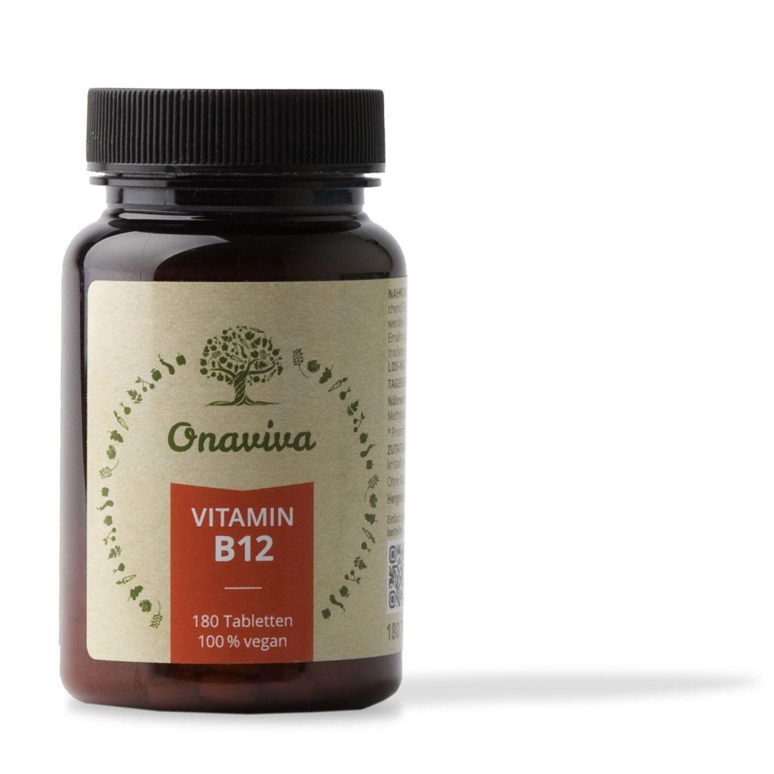 Vitamin B12 hochdosiert 100% Vegan   1000 µg Methylcobalamin   180 Tabletten