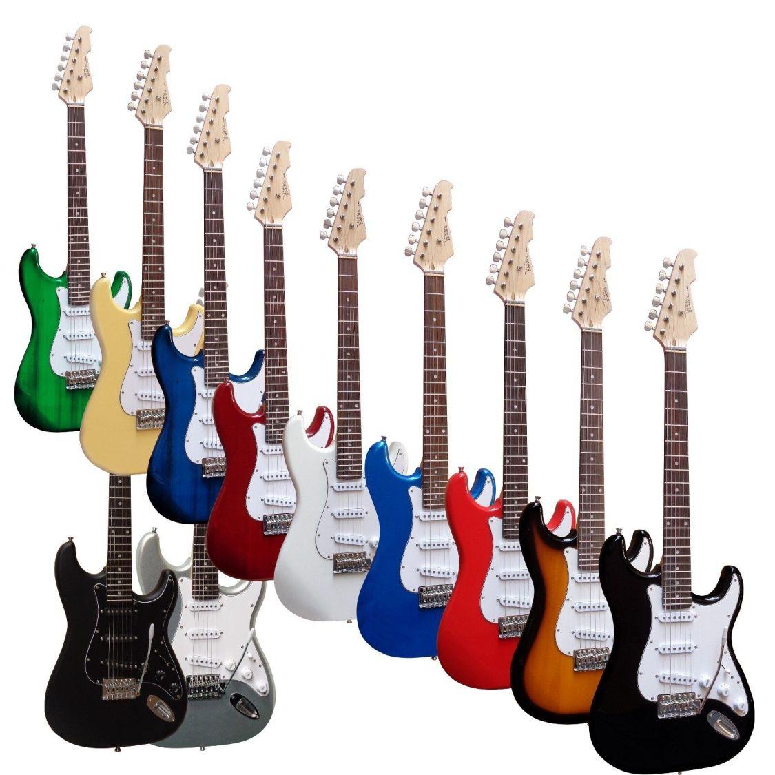 E-Gitarre MSA-ST5 schwarz, Massivholzkörper, Top AUSWAHL, mit Anschlußkabel!n