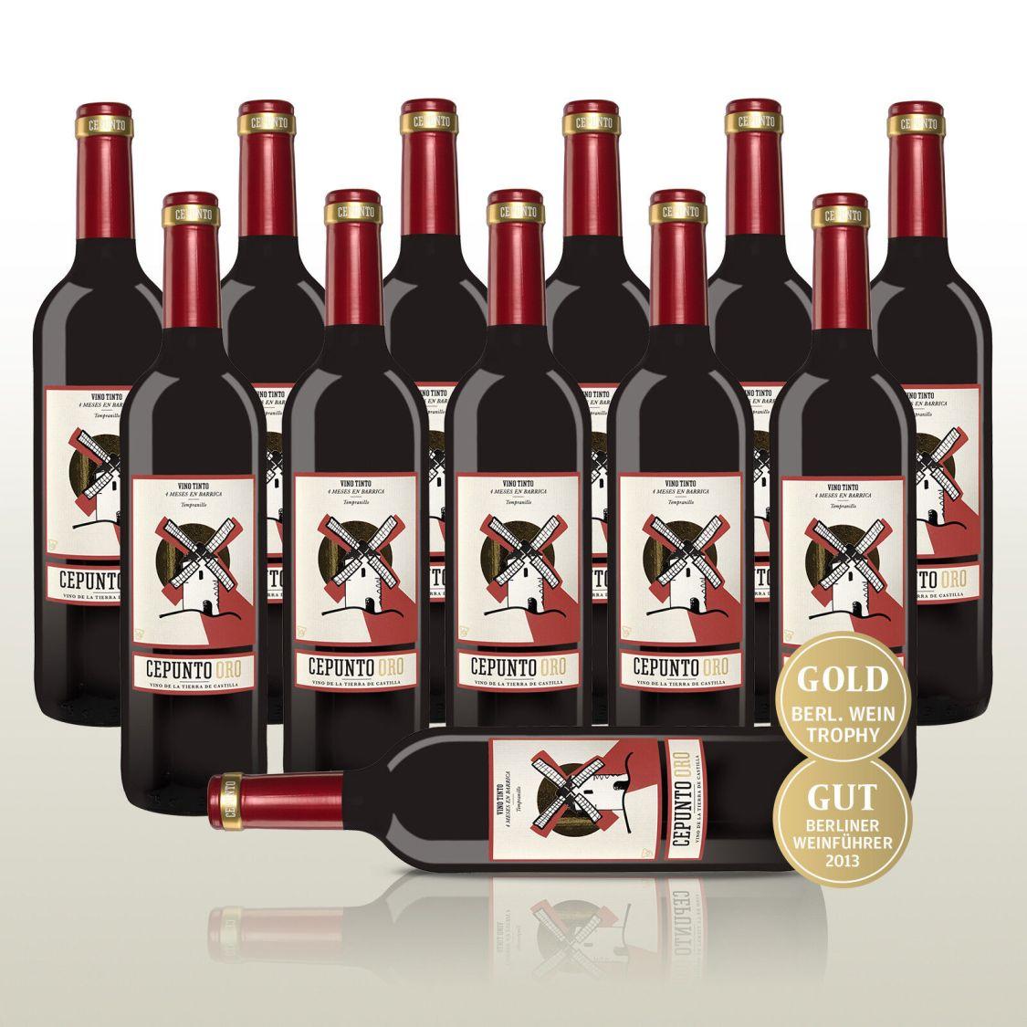 12 Fl. Cepunto Oro,100% Tempranillo - Samtiger Rotwein aus Spanien!