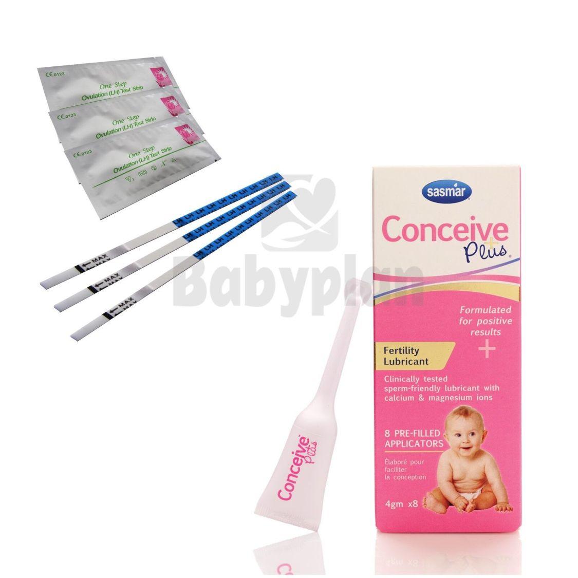 20x Ovulationstest + Conceive Plus Fertilitätsgleitmittel 8x4g Applikatoren