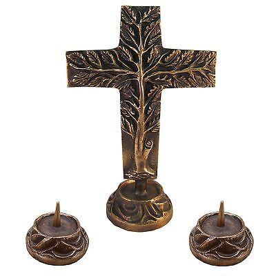 Versehgarnitur Bronze Stehkreuz Lebensbaum doppelseitig 24 cm  2 Leuchter