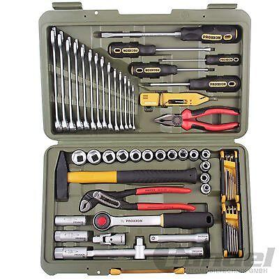 PROXXON PKW- und Universalwerkzeugkoffer 47-teilig Werkzeugkasten Nüsse Zange