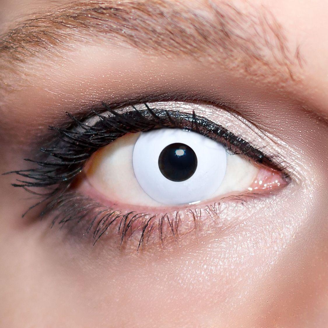 2 Weiße Kontaktlinsen mit Behälter -Halloween- Zombie, farbige Jahreslinsen;K500