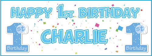 Celebrate Boy Or Girl First Birthday 2 Personalised Happy 1st Birthday Banners Party Supplies Patterer Banners Bunting Garlands
