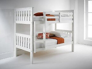 Solid Pure White Bunk Beds Single Thick Spring Padded Firm