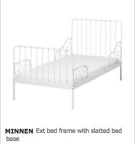 Ikea Minnen White Metal Extendable Children S Bed With 3 Part Mattress