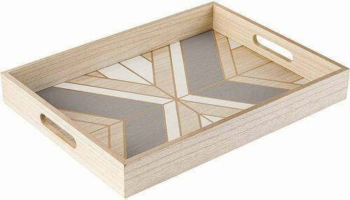 refined wood serving tray decorative for home decor or coffee table 16 x12 x2