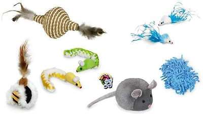 Katzenspielzeug Set Timmy 8-teilig Federspielzeug Spieltier Maus m. Sound Catnip