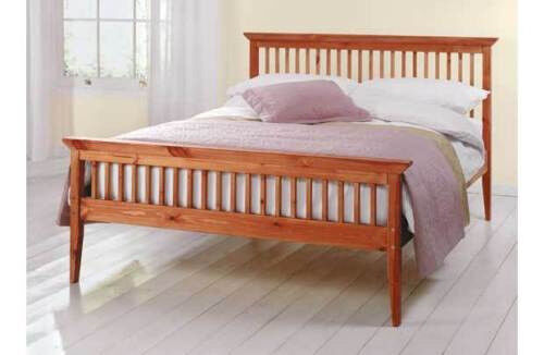 Double Bed In Pine 4ft6 Wooden Frame Mattress Collection Only