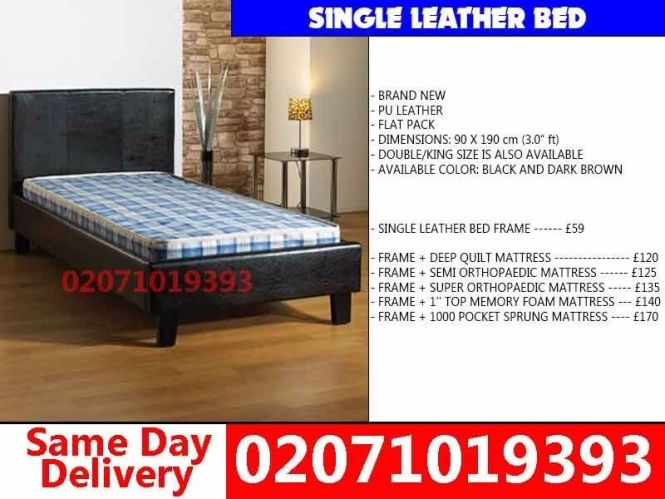 Brand New Single Leather Bed With Mattress Birmingham