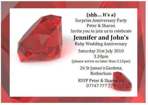 Ruby Wedding Invitations EBay