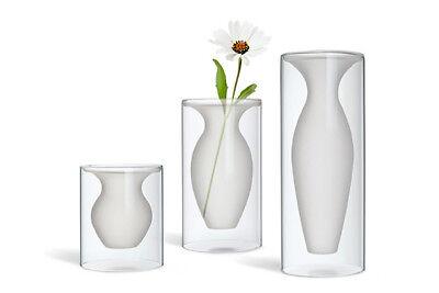 ESMERALDA Vase, Glas, Transparent + matt, 16 cm Höhe, PHILIPPI