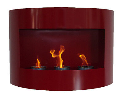 Bio Ethanol Fire Place RIVIERA Red Steel Wall Fireplace Gel Bioethanol Design