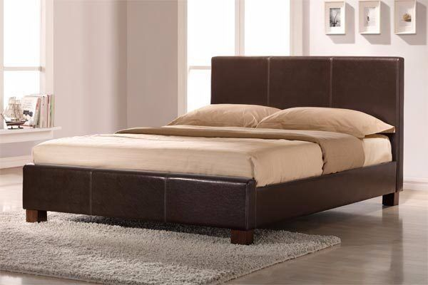 Bed Frame Double Size Leather Beds With Memory Foam Mattress Deal