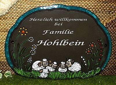 HDA-1315 - Handgetöpfertes Keramiktürschild -  Familienschild - fünf Schafe