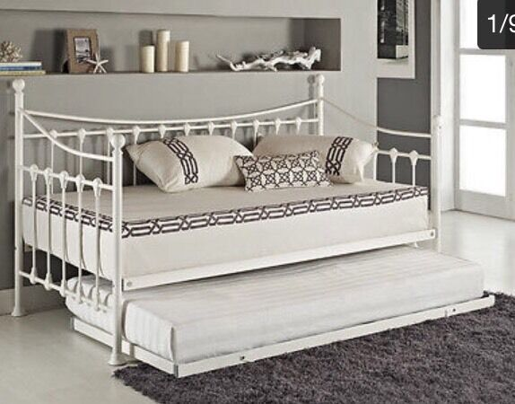 French Metal Daybed With Trundle Guest Bed White Single To Double 2