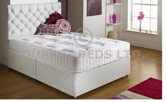 White Quilted Memory Foam Bed Divan Sprung Mattress Double 4ft6 Free P