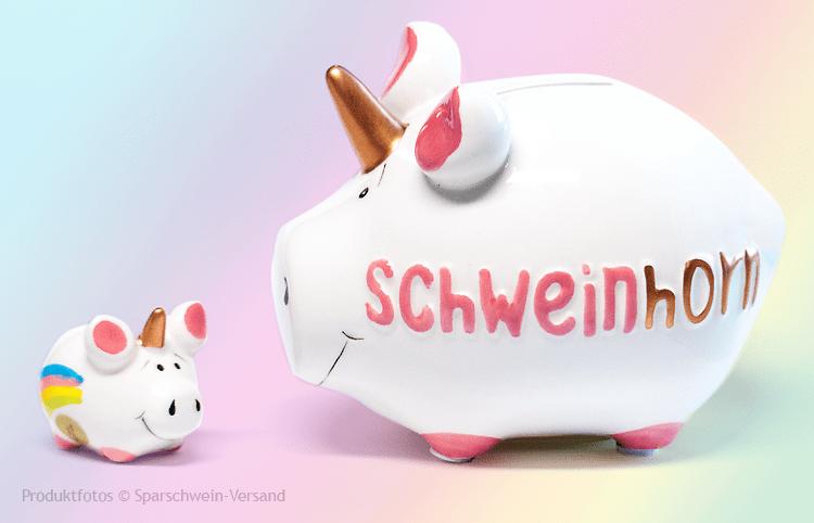 KCG ♥ SCHWEINHORN & KLEINHORN ♥ Sparschwein & Glücksschweinchen ♥ Einhorn Set