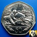 1983 ISLE OF MAN 50p Fifty Pence TT Tourist Trophy Races Ron Haslam Unc AD Coin