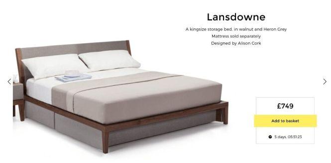 Designer King Size Bed With Storage Walnut Heron Grey Rrp 749