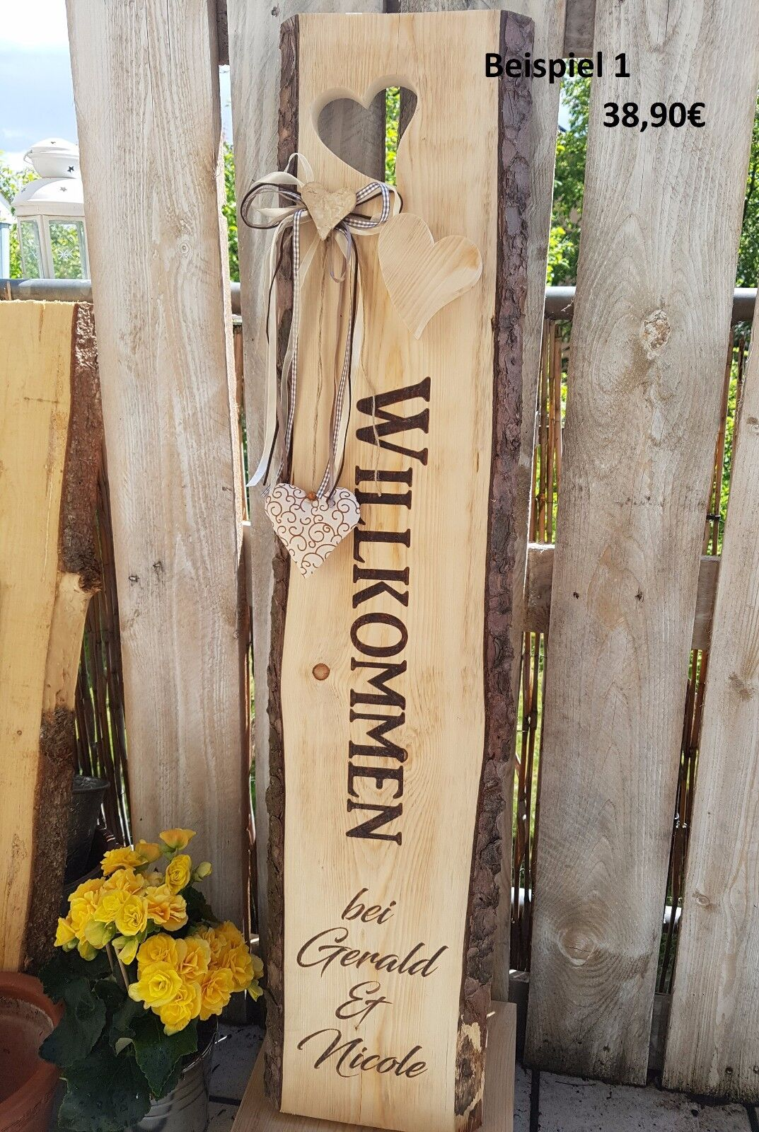Holzaufsteller Willkommen Holzbalken Familienschild Wunschbeschriftung Holzstele