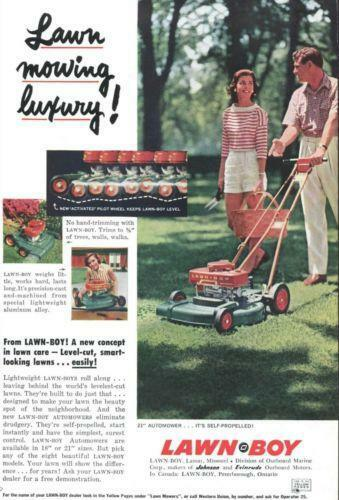 Boy Mowers Lawn Vintage