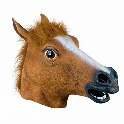 Fancy Dress Halloween Horse Head Mask Latex Animal Cosplay Party Costume 3