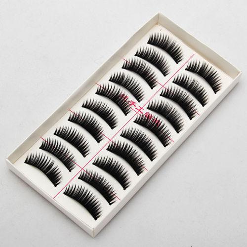 10 Paar Unechte Wimpern Falsche künstliche handgemachte Eye Lashes strip lash