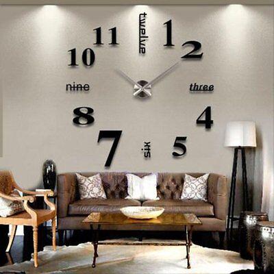 Design Wand Uhr Wohnzimmer Wanduhr Spiegel Wandtattoo Deko XXL 3D Stylisch