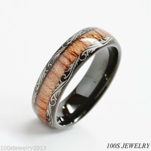 Tungsten Wood Ring EBay