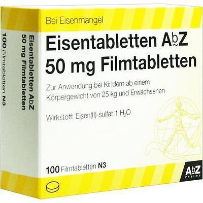 EISENTABLETTEN AbZ 50 mg Filmtabletten 100 St PZN 6683738