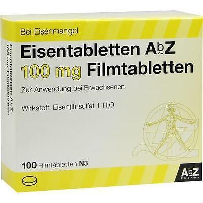 EISENTABLETTEN AbZ 100 mg Filmtabletten 100 St PZN 6683767