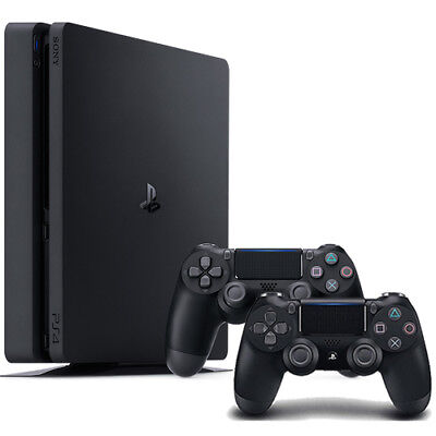 PlayStation 4 Slim 1TB Console + Extra Jet Black DualShock 4 Wireless Controller