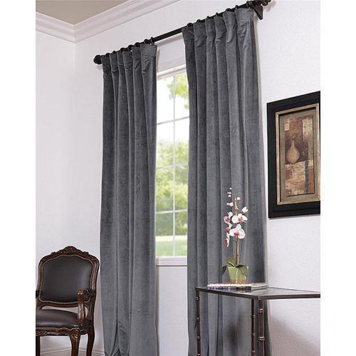 Grey Velvet Curtains EBay