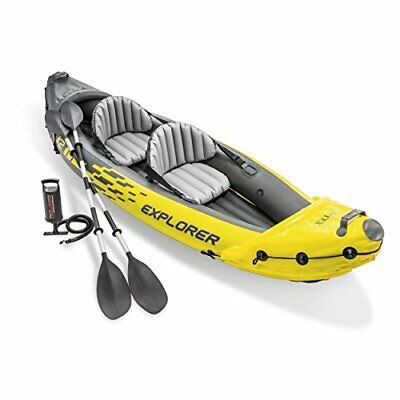 Explorer K2 Kayak, 2-Person Inflatable Kayak Set with Aluminum Oars and...