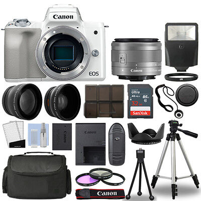 Canon EOS M50 Camera Body White + 3 Lens Kit 15-45mm IS STM+ 32GB + Flash & More