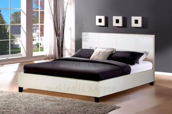 4ft6 Leather Frame With Econony Mattress 24 Hour 48 Delivery