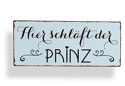 Wandschild Metall Shabby Dekoschild Prinz Dekoration